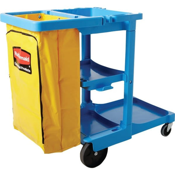 Rubbermaid Multi-Shelf Cleaning Cart, Three-Shelf, 20w x 45d x 38.25h, Blue