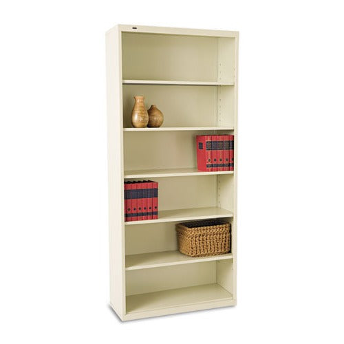 Tennsco Metal Bookcase, Six-Shelf, 34-1/2w x 13-1/2h x 78h, Putty