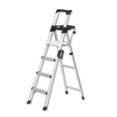 CSC2061AABLD COSCO Signature Series Aluminum Step Ladder, 6 ft Working Height, 300 lbs Capacity, 4 Step, Aluminum