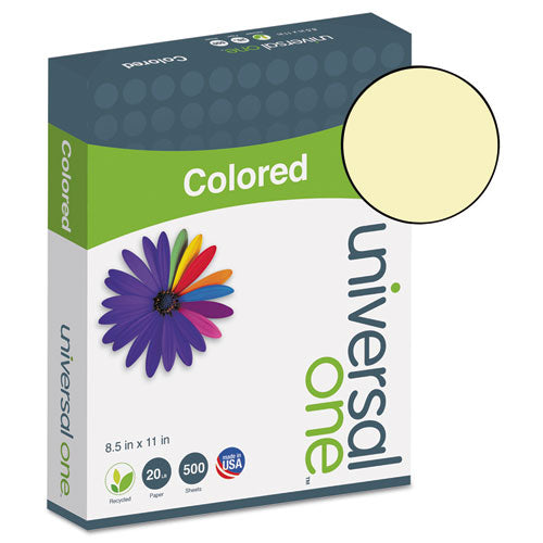 UNV11201 Universal Brand Deluxe Colored Paper, 20lb, 8.5 x 11, Canary, 500/Ream