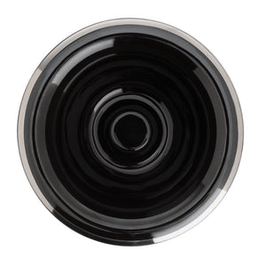 Shaving Bowl- Black Porcelain Platinum Rim