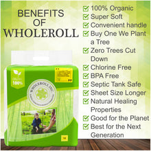 WHOLEROLL -Organic Bamboo Toilet Paper, Soft and Chemical Free, All Natural, Tree Free Bathroom Tissue, 3-Ply Strong #18 Roll Count