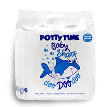 WHOLEROLL Baby Shark Potty Training Toilet Paper for Every Day Use, Plant-Based Color, Train at Home, Birthdays, Decorations 4 Mega Roll Pack Indiv. Wrapped Limited Edition
