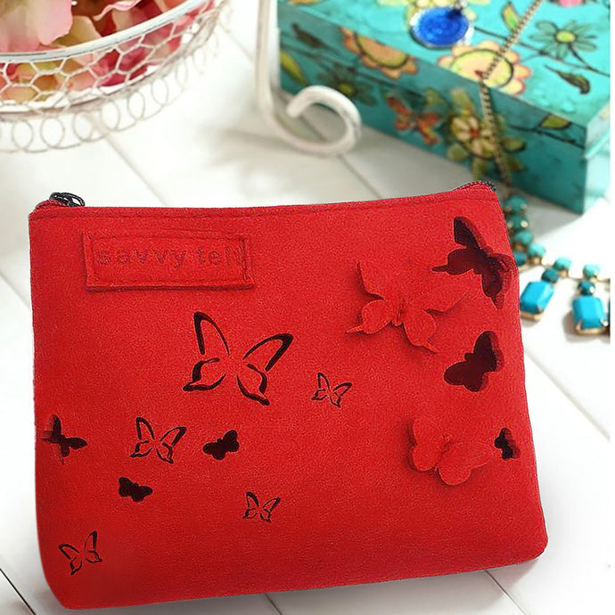 Ruby Red Eco-Felt Butterfly Toiletry and Makeup Bag