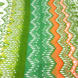 White,Peach and Green Ikat Cotton Scarf - Asha Handicrafts - Native Grace Fair Trade