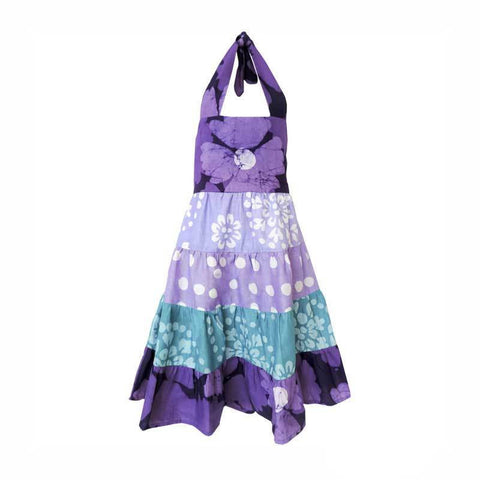 Girls Gypsy Dress - Violet Patchwork - Global Mamas (C) - Native Grace Fair Trade