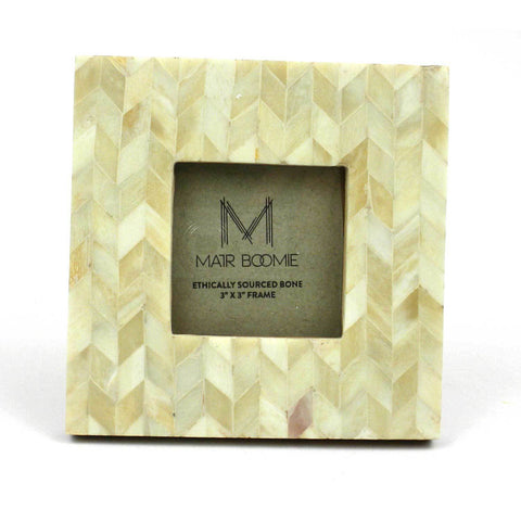Square Chevron Pearl Bone Wood Frame 3x3 - Native Grace Fair Trade