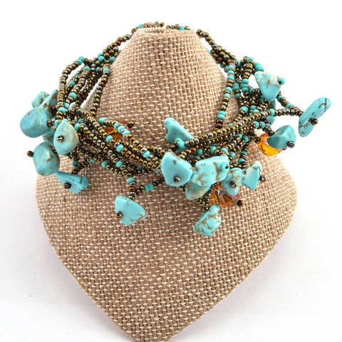 Chunky Stone Bracelet - Turquoise - Native Grace Fair Trade