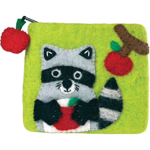 Felt Coin Purse - Raccoon - Wild Woolies (P) - Native Grace Fair Trade
