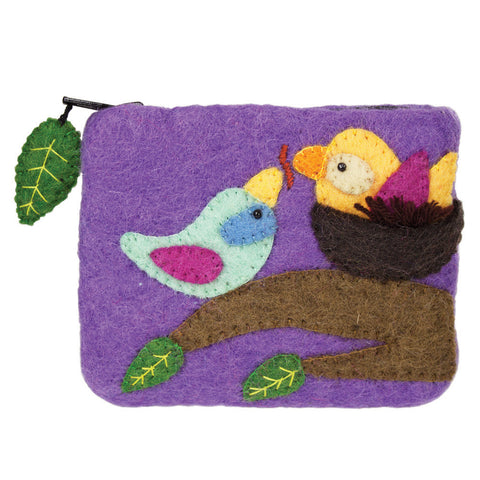 Felt Coin Purse - Cozy Nest - Wild Woolies (P) - Native Grace Fair Trade