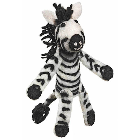 Woolie Finger Puppet - Zebra - Wild Woolies (T) - Native Grace Fair Trade