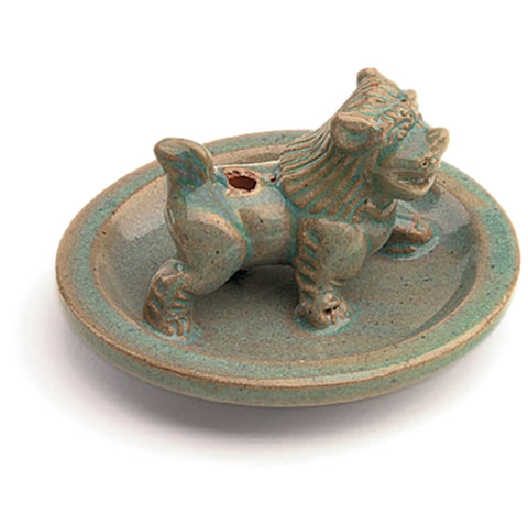 Incense Burner Glazed Snow Lion - Tibet Collection - Native Grace Fair Trade