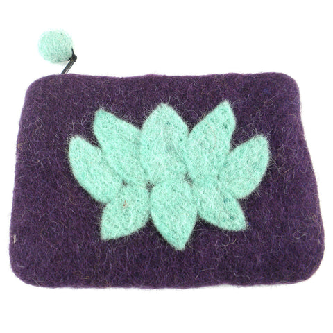 Lotus Flower Felt Coin Purse - Wine - Global Groove (P) - Native Grace Fair Trade