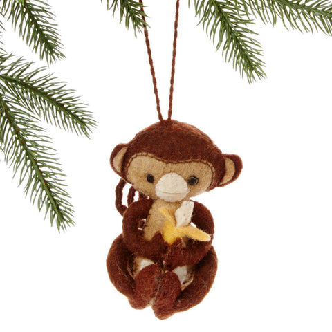 Monkey Felt Holiday Ornament - Silk Road Bazaar (O) - Native Grace Fair Trade