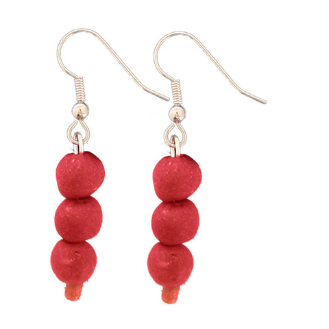 Recycled Glass Bead Earrings Poppy