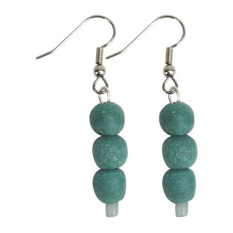 Recycled Teal Glass Earrings