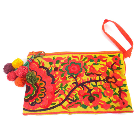 Double Sided Grab n' Go Pom Pom Clutch - Orange - Global Groove (P) - Native Grace Fair Trade