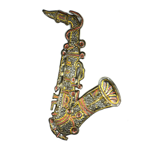 Painted Metal Sax Horn 13 inch - Croix des Bouquets - Native Grace Fair Trade