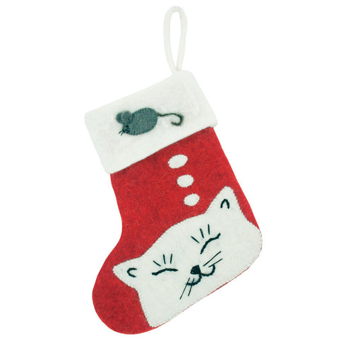 Kitty Holiday Stocking - Wild Woolies (H) - Native Grace Fair Trade