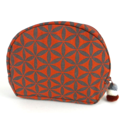 Flower of Life Cosmetic Bag Terra Cotta/Grey - Global Groove (P) - Native Grace Fair Trade