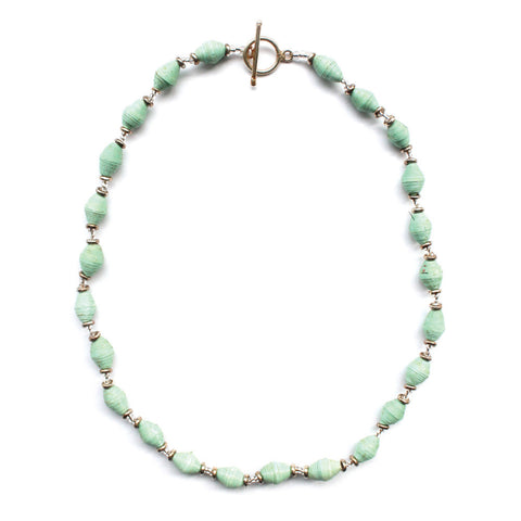 Single Strand Magazine Bead Necklace Seafoam - Native Grace Fair Trade