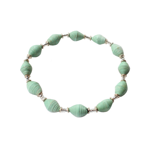 Single Strand Magazine Bead Bracelet Seafoam - Native Grace Fair Trade