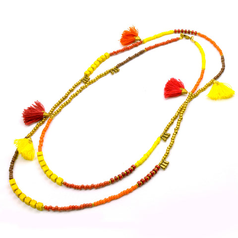 Kerala 3-in-1 Necklace Fire - Global Groove (J) - Native Grace Fair Trade