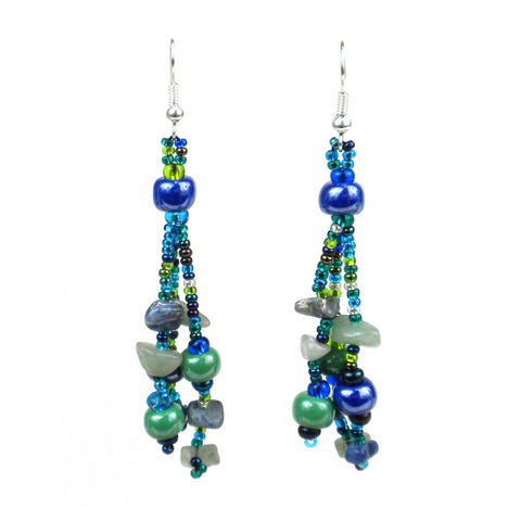 Beach Ball Earrings - Green Blue