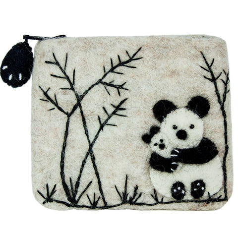 Felt Coin Purse - Panda Love - Wild Woolies (P) - Native Grace Fair Trade