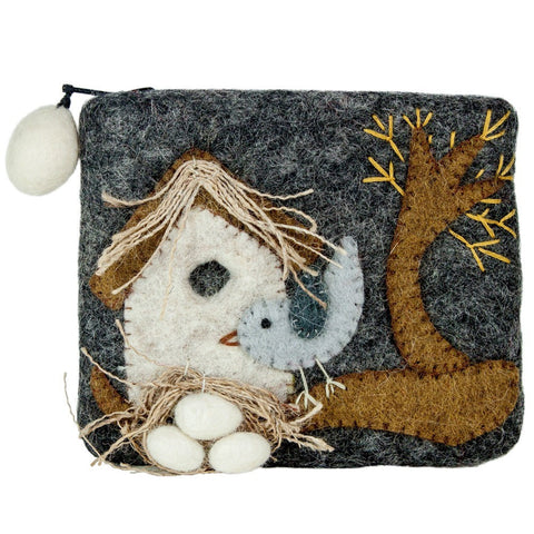 Felt Coin Purse - Nesting Bird - Wild Woolies (P) - Native Grace Fair Trade