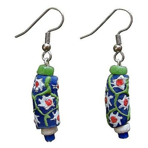 Recycled Glass Prosperity Bead Sister Earrings Handmade and Fair Trade