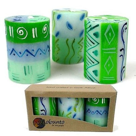 Set of Three Boxed Hand-Painted Candles Farih Design Handmade and Fair Trade