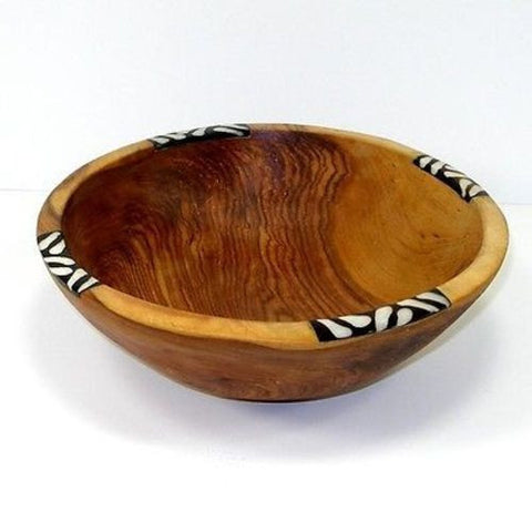 Handcarved Olive Wood Bowl 9 inch with Inlaid Bone Handmade and Fair Trade