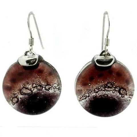 Ripe Plum Fused Glass Earrings with Sterling Silver Handmade and Fair Trade