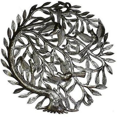 Tree of Life with Curved Trunk Metal Wall Art 24-inch Diameter Handmade and Fair Trade