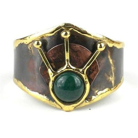 Green Stone Rays Brass Cuff Handmade and Fair Trade