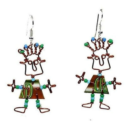 Phone Card Dancing Girl Earrings Handmade and Fair Trade