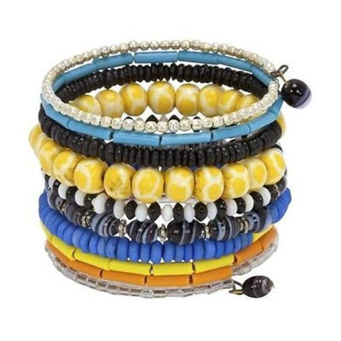 Ten Turn Bead and Bone Bracelet - Multicolored Handmade and Fair Trade