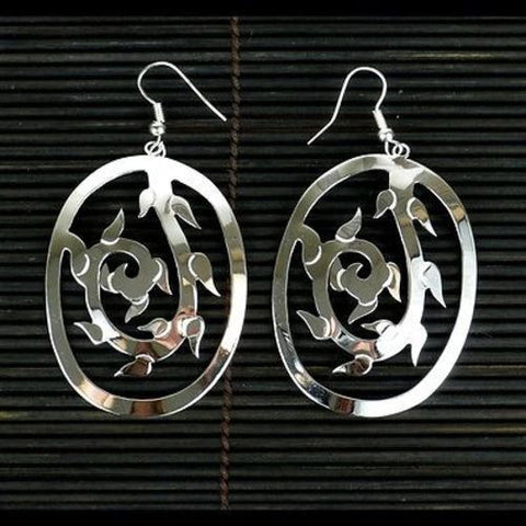 Large Silverplated Vine Earrings Handmade and Fair Trade
