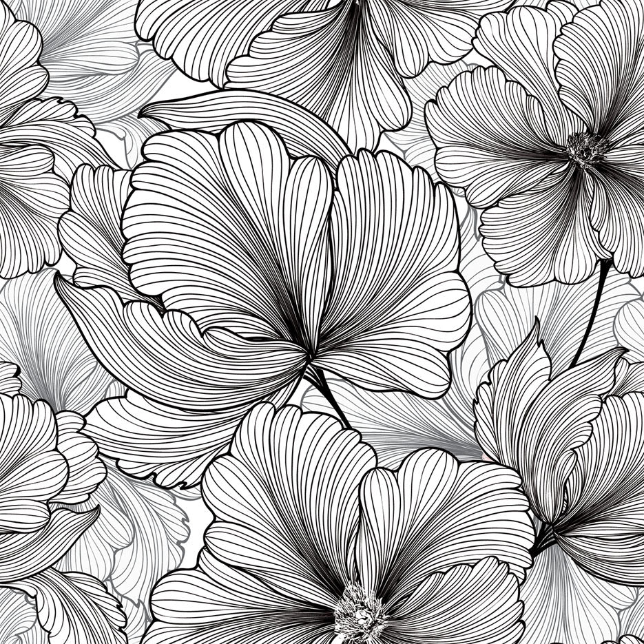 Black & White Tropical Flowers