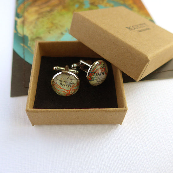 Silver Map Cuff Links