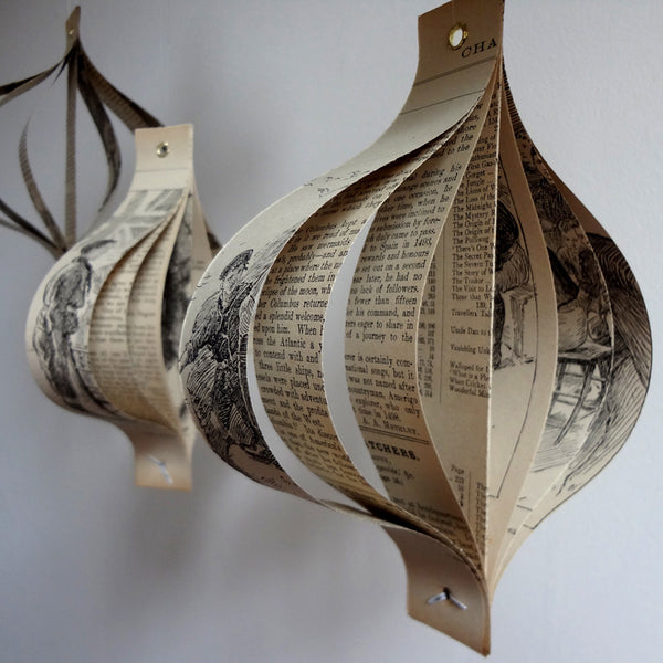 Paper Christmas Decorations Handmade from Books