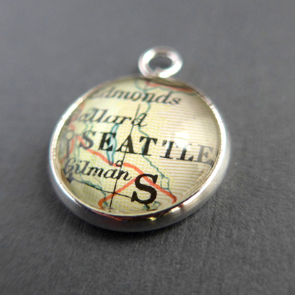 Personalised Silver Plated Map Charm