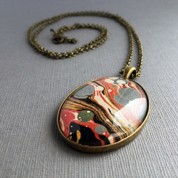 Long Oval Glass Pendant Marbled