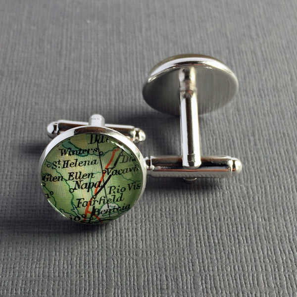 Personalized Cuff Links Made With Vintage Maps