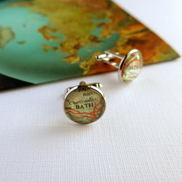 Customisable Cufflinks Made With Vintage Maps