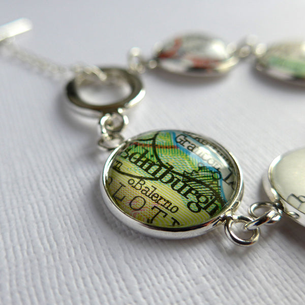 Personalised Silver Map Bracelet