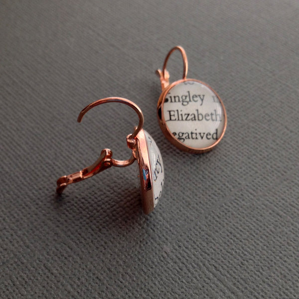 Jane Austen Elizabeth and Darcy Book Earrings