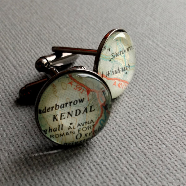 Personalised Silver Plated Map Cufflinks for Jordan x 5