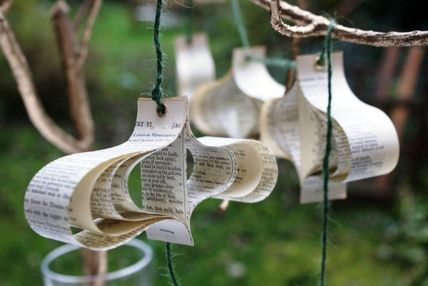 Rustic Paper Garland, Recycled Books, Wedding Decorations, Shakespeare